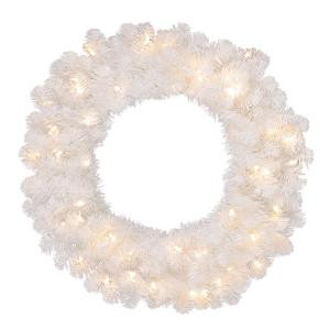 30 in. Pre-Lit LED Glossy White North Hill Wreath x 136 Tips with 50 Plug-In Indoor/Outdoor Warm White Lights-GD26M2O71L01 206795387