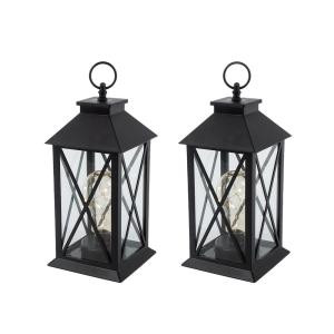 Gerson 11 in. H Battery Operated Black Plastic Lantern with 10-Count Micro LED Plastic Light Bulb, Timer Function (Set of 2)-2346121HD 300348418