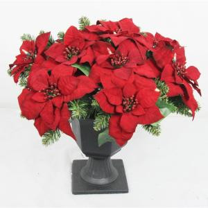 Home Accents Holiday 22 in. Battery Operated Artificial Poinsettia Topiary with 35 Clear LED Lights-BOWOTHD180B 205982761