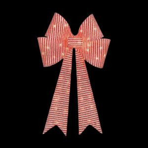 Home Accents Holiday 36 in. Pre-Lit Red/White Striped Tinsel Bow-TY339-1314-0 205983399