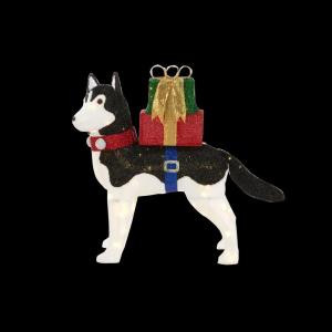 Home Accents Holiday 42 in. LED Lighted Fuzzy Husky-TY028-1614-1 206963368