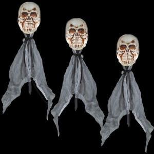 LightShow 18 in. Lighted Skulls Pathway Markers (Set of 3)-57886 205832454