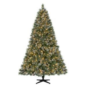 Martha Stewart Living 7.5 ft. Pre-Lit LED Sparkling Pine Quick-Set Artificial Christmas Tree with Warm White Lights and Pinecones-TG76M3ACDL00 206770976