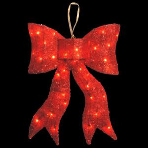 National Tree Company Pre-Lit 24 in. Red Wavy Sisal Bow-MZBO-24CL-1 300493634