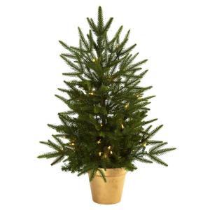 Nearly Natural 2.5 ft. Artificial Christmas Tree with Golden Planter and Clear Lights-5370 204688160