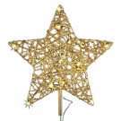 12 in. 18-Light LED Gold Five Star Metal Tree Topper-TF04-1WY012-A 202938528