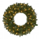 30 in. Pre-Lit LED Wesley Pine Artificial Christmas Wreath x 191 Tips with 50 Outdoor Plug-In Warm White Lights-GD26M2L46L02 206795415