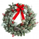 30 in. Unlit Artificial Christmas Wreath with Snowy Leaves and Bows-2381340HD 301376927