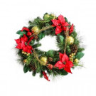 30 in. Unlit Artificial Mixed Pine Christmas Wreath with Red Poinsettias-2381320HD 301376895
