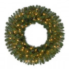 32 in. Pre-Lit Fairwood Artificial Christmas Wreath x 230 Tips with 100 UL Indoor/Outdoor Clear Lights-GD28P3A01C00 206795428