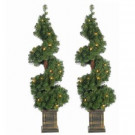 3.5 ft. Pre-Lit Potted Spiral Artificial Christmas Tree (Set of 2)-5213--35C 302452269