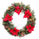 36 in. Battery Operated Red Poinsettia Artificial Wreath with 60 Clear LED Lights-2258420HD 206005433