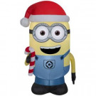42 in. Inflatable Airblown- Minion Dave with Candy Cane-15570 301693975