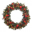 48 in. Battery Operated Red Accented Artificial Wreath with 60 Clear LED Lights-2258650HD 205984017