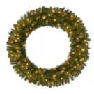 48 in. Pre-Lit LED Wesley Pine Artificial Christmas Wreath x 366 Tips with 120 Plug-In Indoor/Outdoor Warm White Lights-GD40M2L46L02 206795429