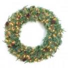 48 in. Syracuse Cashmere Berry Artificial Wreath with 200 Warm White LED Light-BOWOTHD171D 205983475