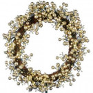 48-Light LED Gold 24 in. Battery Operated Berry Wreath with Timer-WL10-1WY024-A1 202938549