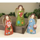 8 in. High Angel Figurines with Flower Motif (3-Pack)-2126100 301902768