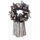 Home Accents Holiday 20 in. Mesh Halloween Artificial Wreath with Skull-ASM-HHMR016 301195157