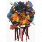 Home Accents Holiday 20 in. Mesh Halloween Artificial Wreath with Witch Legs-ASM-HHMR064 301195176