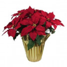 Home Accents Holiday Christmas 21 in. Red Silk Poinsettia in Foil Pot-69X9837R14 206949835