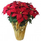 Home Accents Holiday Christmas 28 in. X-Large Red Silk Poinsettia in Foil Pot-03X3035R14 206949843