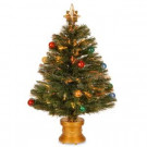 National Tree Company 2.6 ft. Fiber Optic Fireworks Artificial Christmas Tree with Ball Ornaments-SZOX7-100L-32-1 300496223