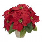 Nearly Natural 13.0 in. H Red Poinsettia with Ceramic Vase Silk Flower Arrangement-1268 203141467