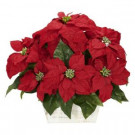 Nearly Natural 16.5 in. H Red Poinsettia with White Wash Planter Silk Arrangement-1262 203141462