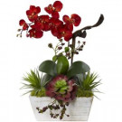 Nearly Natural 21 in. Seasonal Orchid and Succulent Garden with White Wash Planter-1418-AT 206733614