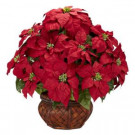 Nearly Natural 22.0 in. H Red Poinsettia with Decorative Planter Silk Arrangement-1265 203141465