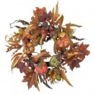 Nearly Natural 24 in. Artificial Wreath with Pumpkins, Berries, and Maple Leaves-4924 202510932